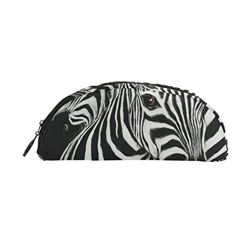 Bleistiftbeutel Federtasche Beutel Tier Afrikanisches Zebra Schwarz Weiß Make-up Kosmetik Halbkreis für Mädchen Jungen Reiseschule