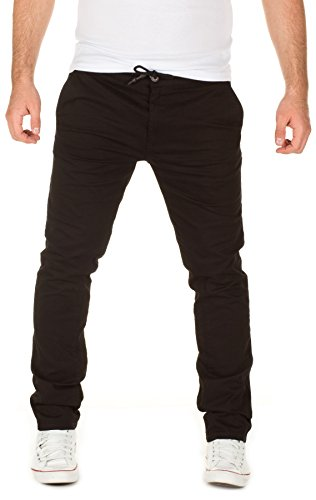 Yazubi Herren Chino Hose, Modell Agron, Chino in Jogginghosen-Look, black (3000), W32/L32