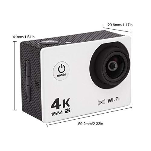 TEEPAO 4K Unterwasserkamera, 1080P HD WiFi, wasserdicht, Action-Kamera, mehrere Aufnahmemodi und Weitwinkelobjektiv, mit 2 wiederaufladbaren Akkus und Montagezubehör-Set, weiß, XL