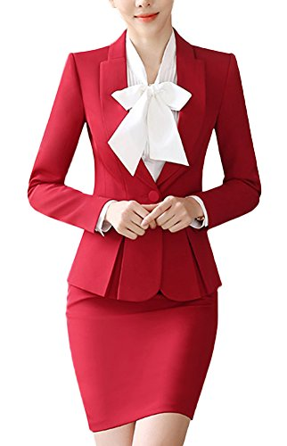 SK Studio Damen Rock Blazer Slim Fit Einfarbig Karriere Rock Anzug Sakko Rot 34 Tag L