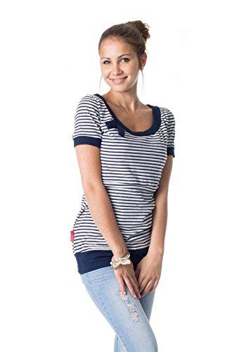 GoFuture Damen Umstandsshirt Stillshirt 3in1 Alda GF2005 Marine-grau-weiß gestreift