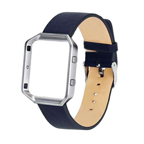 ouneedr-pu-leder-uhr-band-handschlaufe-metallrahmen-fur-fitbit-blaze-smart-watch-blau