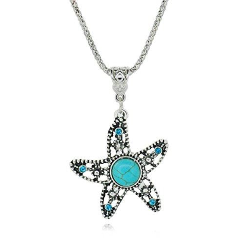 Tanzen Seestern Tibetisch Silber Halskette Halskette Rimous Türkis Anhänger Kette (Tragen Custume)