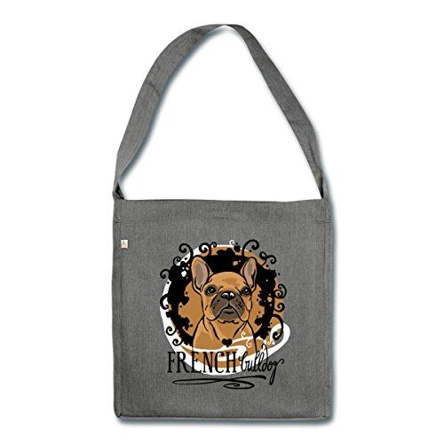 Spreadshirt French Bulldog Zeichnung Schultertasche aus Recycling-Material Dunkelgrau Meliert
