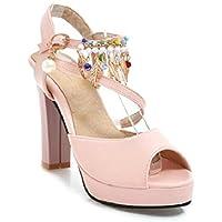 ZHZNVX Chaussures pour femmes, Printemps Été Sandales Confort Talon Peep Toe pour un soir,Parti Blanc Noir Almond,Black,US8/EU39/UK6/CN39