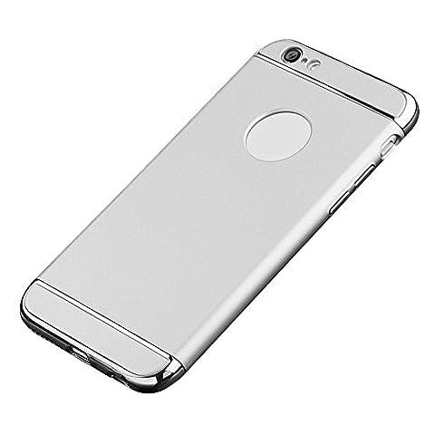 KOBWA IPhone 6 Plus / 6s Plus Hülle, 3-Teilige Styliche Extra Dünne Harte Galvanisieren Edge Case Schutzhülle für IPhone 6 Plus / 6s Plus Kratzfeste Rutschfeste Rundum Schutz Tasche Cover Silber