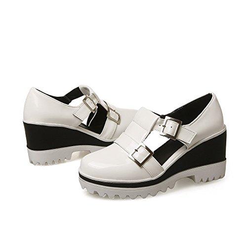 VogueZone009 Femme à Talon Haut Couleur Unie Boucle Rond Chaussures Légeres Blanc