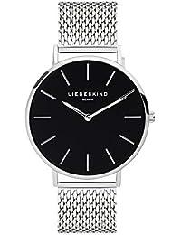 LIEBESKIND BERLIN Unisex Erwachsene Analog Quarz Uhr mit Edelstahl Armband LT-0154-MQ, Silber-Schwarz