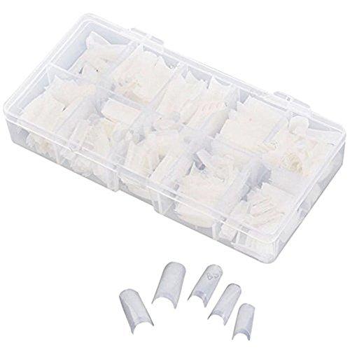 OVERMAL Nail Art Accessoires Professionnel, Faux Ongles Box 500pcs Blanc Clair Naturel Faux FrançAis Acrylique Nail Art Conseils Gel UV DIY Kit Deco