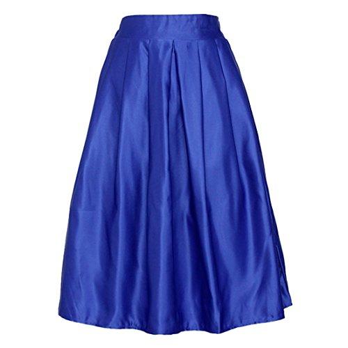 Mode fuer Frauen Solid Color elastische Taillenfaltenrock Large Hem Midikleid New Blau