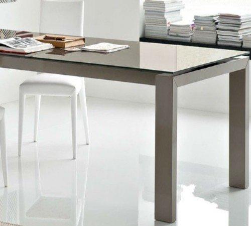 Calligaris connubia by Table Extensible Sigma Glass CS/4069-lv 180 – Structure : laqué Blanc Optique Opaque P94 – Plan : céramique Ciment p1 C
