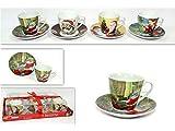 Vetrineinrete Set 6 tazzine da caffè e sottobicchieri in Ceramica con Decorazioni Natalizie 6 x 6 cm Babbo Natale addobbi per la casa stoviglie da Cucina Idea Regalo