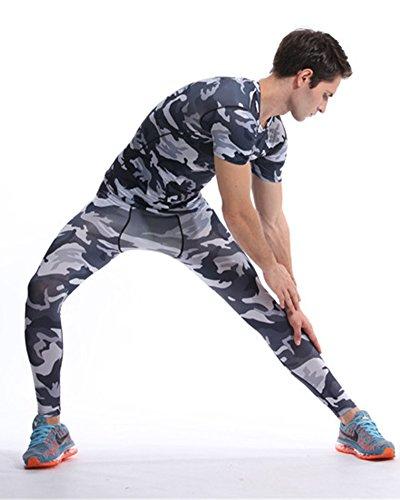 Sportivo Compression Manica Manica Corta E Fitness Lunga Pantaloni Da Uomo Grigio Nero