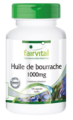 Huile de bourrache 1000mg - 100 capsules molles - source naturelle d'acide gras oméga-6 et acide gamma-linolénique - pressée à froid et ne contient pas d'alcaloïdes