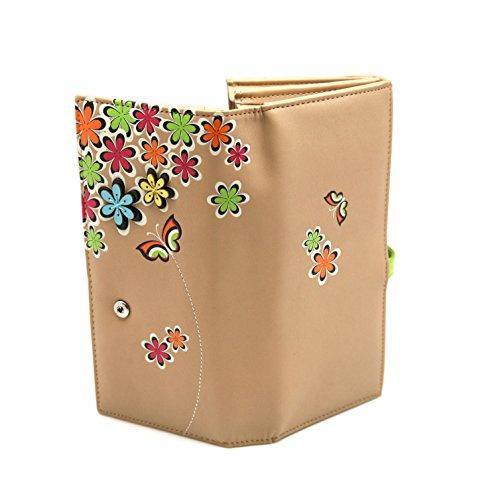 Portafoglio piatto femmina fiore e farfalla interior Menkai borsa con cerniera e titolare della carta Beige