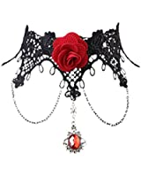 Tenflyer Lady Retro Lolita Gothic Lace Tassel False Collar Necklace Choker