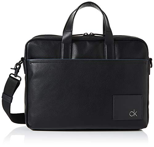 Calvin Klein Herren Ck Direct Slim Laptop Bag Tasche, Schwarz (Black), 8x28x37 cm -