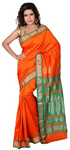 Aruna Fashions Self Design Paithani Gatti 3D Art Silk Saree( Orange Red color saree with Orange Red color blouse piece)  available at amazon for Rs.999