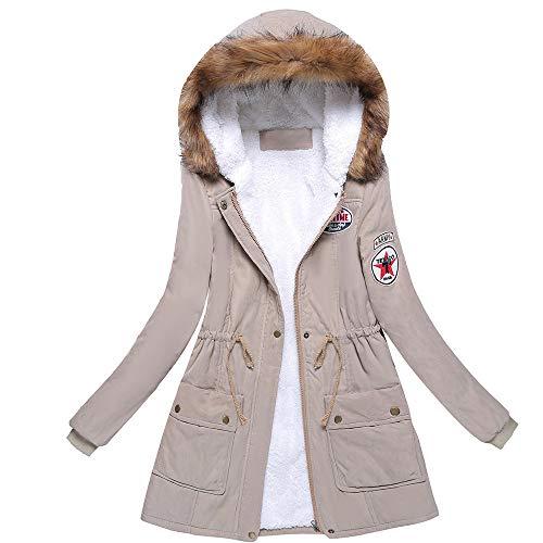 Luckycat Warmer Langer Mantel der Frauen Pelzkragen Kapuzenjacke Schlank Winter Parka Outwear Mäntel Jacken Mäntel Sweatjacke Winterjacke Fleecejacke Steppjacke