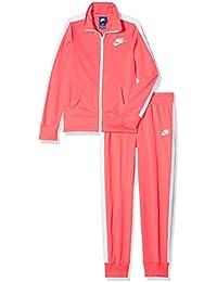 Nike G NSW TRK Suit Tricot Chándal, Niñas, Rosa (Sea Coral/White/Sea Coral/White), L