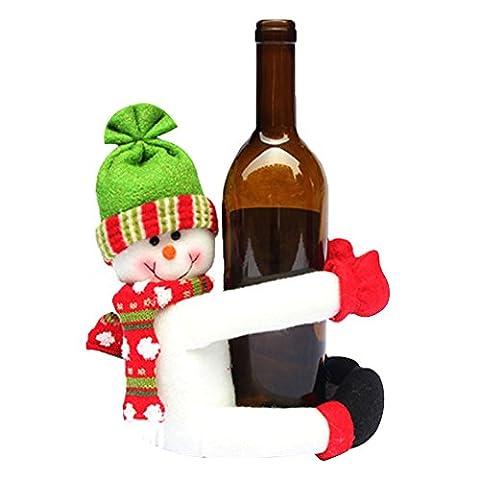 Alxcio Weihnachten Verzierung Nette Puppe Champagne Rotwein Flaschen Halte Abdeckungs Haus Partei Weihnachtstabellen Dekoration,Weiße Schneemann