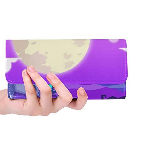 Einzigartige benutzerdefinierte kreative Innovative Kunst Halloween Town Frauen Trifold Wallet Lange Geldbörse Kreditkarteninhaber Fall Handtasche