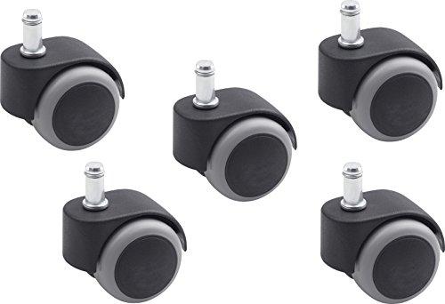 Metafranc Doppelrolle Ø 50 mm - mit Stift - TPR-Räder - Weiche Lauffläche - Gleitlager - 30 kg Tragkraft - 5 Stück / Drehstuhlrolle / Bürostuhlrolle / Möbelrolle / Parkettrolle / 804260