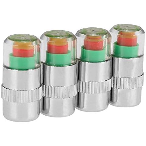 Indicatore Caps - All4you 4Pcs di pneumatici 2.4Bar auto pneumatico pressione valvola Cap w/sensore indicatore 3 colore occhio avviso di Monitor