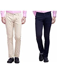 Nimegh Cream And Navy Blue Color Cotton Casual Slim Fit Trouser For Men's (Pack Of 2)