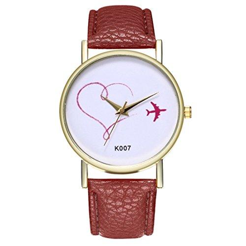 Papasgjx Armbanduhr Quarzuhr Rote Motive 1 Flugzeug 1 Herz in weißem Hintergrund Zifferblatt Runde Grenze Gold Farbe Kaffee Armband PU-Leder Einfache Art Pr Frauen