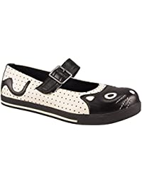 T.U. K-TUK A8161L Plimmie da Donna Mary Jane Kitty Face Crema Scarpe Vegan 1f69acad07d
