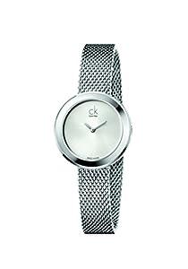 CK - Reloj de cuarzo para mujer, correa de acero inoxidable color plateado de CK