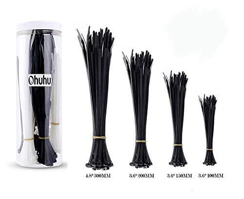 Ohuhu 800 Stück Kabelbinder Kabel Zip Krawatten Selbstsichernde Kabel Zipties, 100/140/200/300 mm Black& White Nylon Krawatten für Zuhause (800 Stück) - Krawatten Krawatten