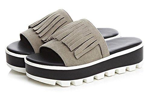 Frau Leder flache Sandalen und Pantoffeln mit dicken Sohlen weiblichen Pantoffeln offene Spitze Quaste Grey
