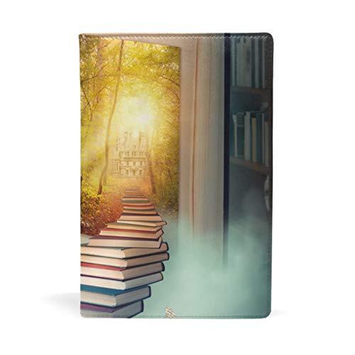 EZIOLY Upstairs To The Magic Land dehnbarer Buchumschlag passend für die meisten Hardcover-Lehrbücher bis 22,6 x 14,5 cm, klebstofffreier Stoff Schulheftschutz Einfach anzubringen. Wash & Re-Use