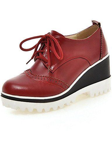 ZQ hug Scarpe Donna - Scarpe col tacco - Ufficio e lavoro / Formale / Casual - Punta arrotondata / Chiusa - Zeppa - Finta pelle -Nero / Rosso / , white-us10.5 / eu42 / uk8.5 / cn43 , white-us10.5 / eu black-us7.5 / eu38 / uk5.5 / cn38