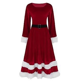 Agoky Traje de Navidad Mujer Vestido Largo de Princesa Manga Larga Disfraz de Papá Noel Fiesta Adulto Elegante Cosplay Santa Claus Christmas Dress Outfit