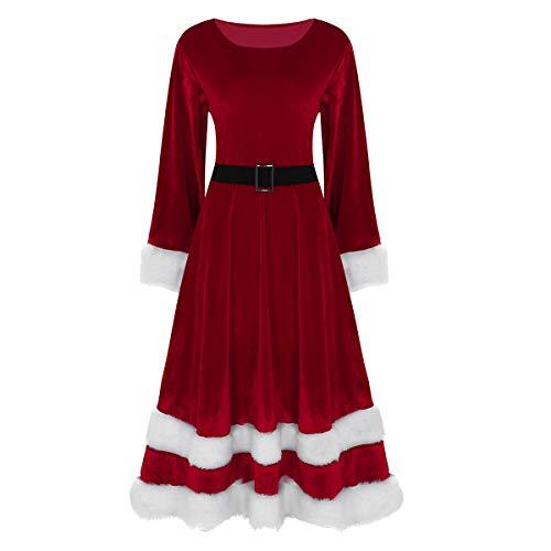 iEFiEL Weihnachten Party Kleider Weihnachtsmann Kostüm Santa Claus Kostüm Langarm Weihnachtskleider Weihnachtsfrau Maxi Kleid Rot Grün Rot XXXXX-Large (Santa Kostüm)