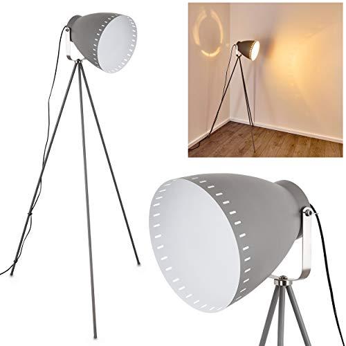 Stehlampe Tanhua, Vintage Stehleuchte aus Metall in Grau/Weiß, E27-Fassung, max. 40 Watt, verstellbare Bodenleuchte im Retro-Design, mit Fußschalter am Kabel, auch geeignet für LED Leuchtmittel