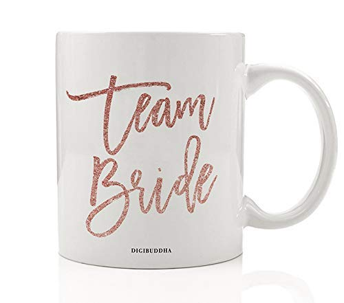 Pink Team Bride Coffee Mug Gift Idea Engagement Bachelorette Parties Bridal Shower Bride's Tribe Party Present Wedding Rehearsal Favors Family Friends 11oz Ceramic Beverage Tea Cup OH0432