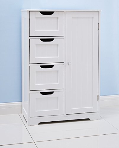 Home Treats White Wooden Bathroom Cabinet With Four Drawers amp; Cupboard Ideal For Bathroom or Bedroom