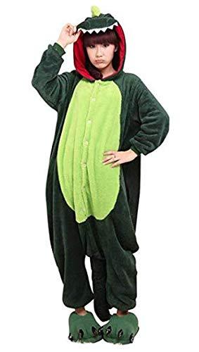 (Dinosaurier Drachen Ganzkörper Tier-Kostüm für Erwachsense - Plüsch Einteiler Overall Jumpsuit Pyjama Schlafanzug - Grün - Gr. XL)