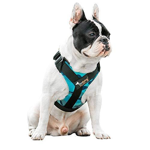 Lavuky Harnais pour Chien Gilet de Chien Réglable Réfléchissant Convient Taille de Buste 40-60cm pour Animaux de Compagnie Activités Extérieures -Bleu