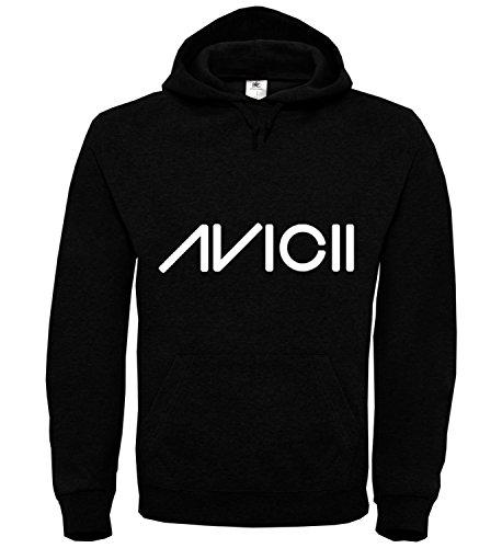 Avicii Logo Black Black Unisex Hoodie Kapuzen Kapuzenpullover Damen Herren Pullie Sweater Hoody Birthday Gift Wear Men's Women's Unisex MD Hoodie