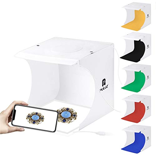 CCDYLQ Tragbare Fotostudio Shooting Zelt Foldable Table Top Mini LED Lighting Kit, Schmuck Light Box Kit Small Home Photography Studio mit 2x20 LED-Leuchten 6 Farben Backdrops