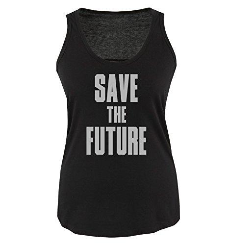 Comedy Shirts - SAVE THE FUTURE - Donna Tank Top canottiera - taglia S-XL vari colori Schwarz / Siber