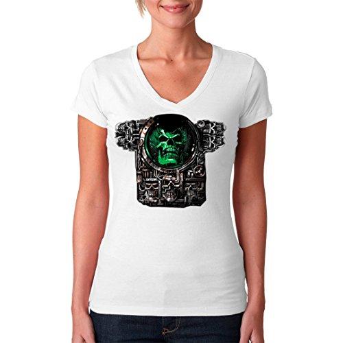 Gothic Fantasy Girlie V-Neck Shirt - Immersion Skull - Cyber Schädel by Im-Shirt Weiß