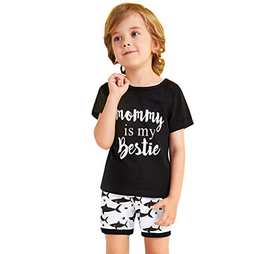 Yuan  Baby Kid Boy Toddler Letter Printed T Shirt Tops+Cartoon Shorts Outfit Set Junge Sommer Baumwolle Kurzarm T-Shirt und Shorts Bekleidungsset Set