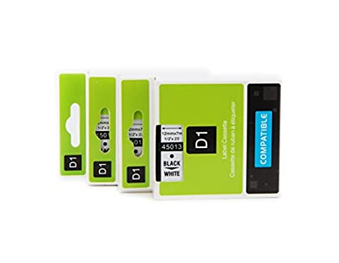 3 Pack Compatible with Dymo D1 45013 Label Tape S0720530 Cassette 12mm 7m Standard Self-Adhesive-Black on White Suitable for LabelManager 160 210D 260P 280 PnP Labelwriter