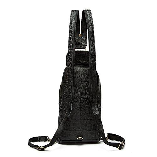 Genda 2Archer Echtes Leder Tasche Fashion Sport Casual Brusttasche (Kaffee) Schwarz